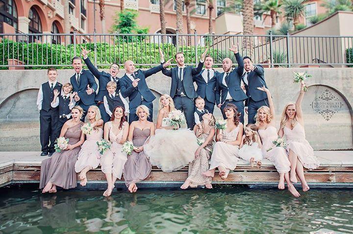 Bridal party photography. Blush bridesmaids. Mix and match bridesmaid dresses. Navy groomsmen suits.