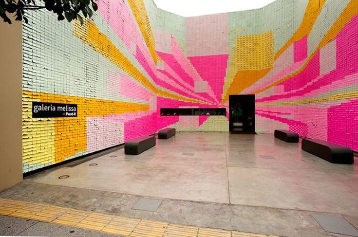 350,000 post-its walls in Sao Paulo: Wall Art, Posts It Note, Sticky Note, Postit Art, Art Installations, Postit Note, 350000 Postit, Design Blog, Galeria Melissa