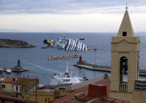01/13/2012 - Costa Concordia cruise ship sinking along the west coast of Italy, near Giglio Island