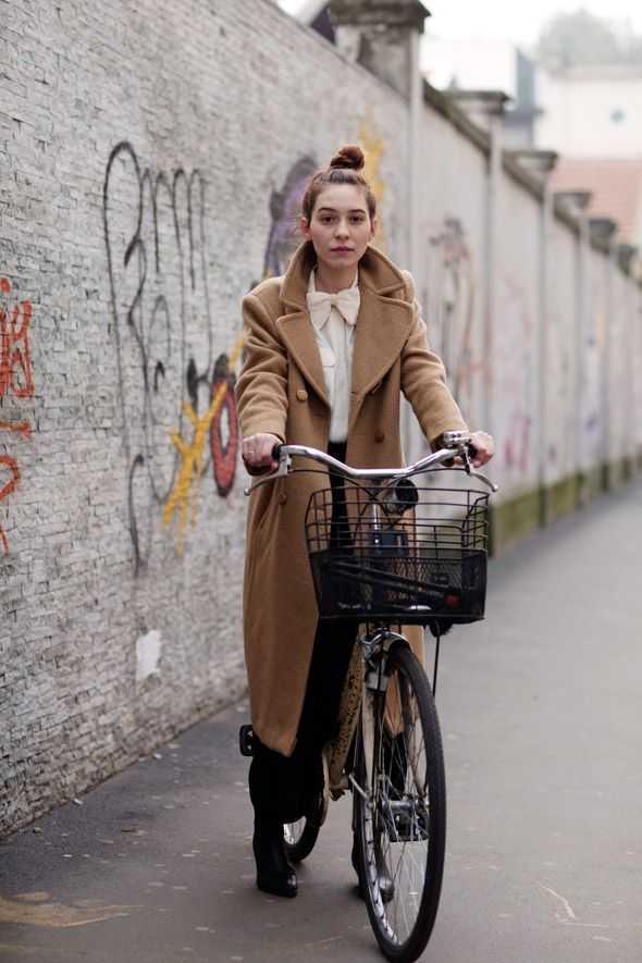 .: Blouses, Bows Ties, Bows Shirts, Street Style, Long Coats, Camels Coats, The Sartorialist, Cycling Chic, Bike Style
