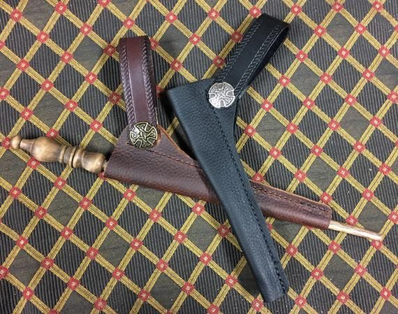 Leather Wand Holster Large Embossed Filigree