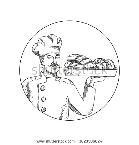 Doodle art illustration of a baker or pastry chef holding a plate of bread set inside circle done in mandala style.  #baker #mandala #illustration