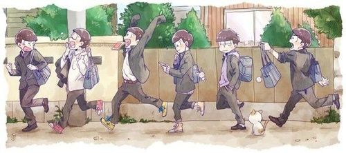 students, late for school, and osomatsu image