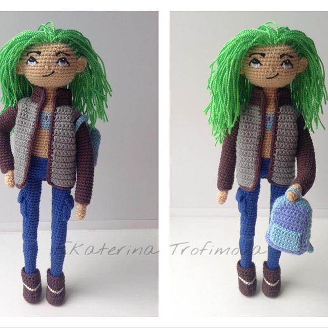 Вот такая крутая девчонка связалась! Куртка и ботинки снимаются. Девочка свободна, по вопросам приобретения в контакты указанные в шапке. Рост 23 см, связана из хлопка и акрила, на каркасе. #вязание #вязаниекрючком #вязанаякукла #кукла #ручнаяработа #своимируками #crochet #crochettoy #crochetdoll #doll #amigurumi #handmade #weamiguru