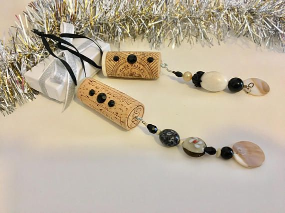 Recycled Wine Cork Ornaments Beaded Sun Catcher Hanging