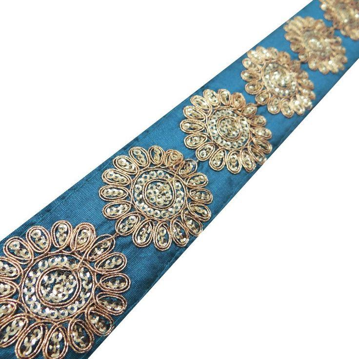 ajuste de la cinta étnica azul estampado de flores india frontera del cordón ropa lentejuelas 1 yarda: Amazon.es: Hogar