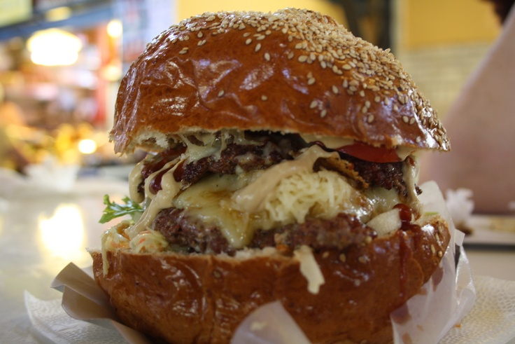 Csirkesuto Halsuto: On the first floor of Budapest's famous Great Market Hall. Ask for the biggest burger they have and indulge in three burgers, cheese, coleslaw and lots more all in one bun!