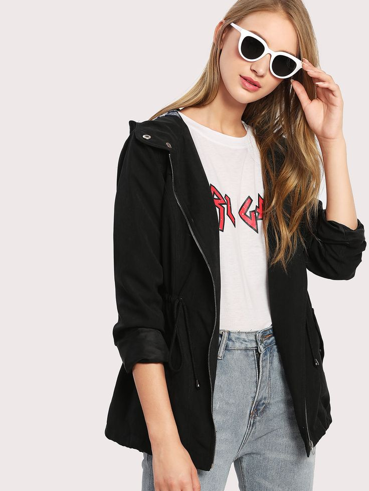 Shop Drawstring Waist Hooded Jacket online. SheIn offers Drawstring Waist Hooded Jacket & more to fit your fashionable needs.