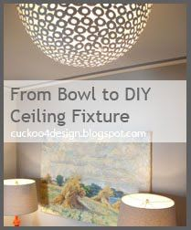 Metal clearance bowl as DIY ceiling fixture - I wonder if there's a way  metal bowl