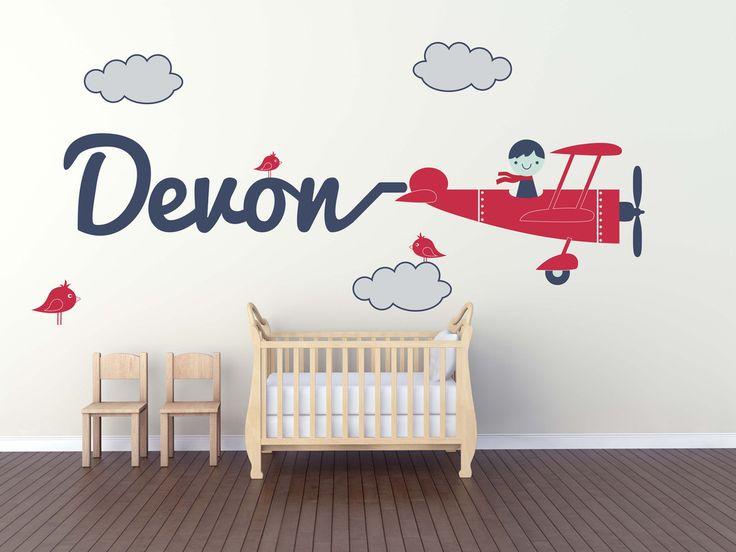 Biplane Airplane Custom Name Wall Decal