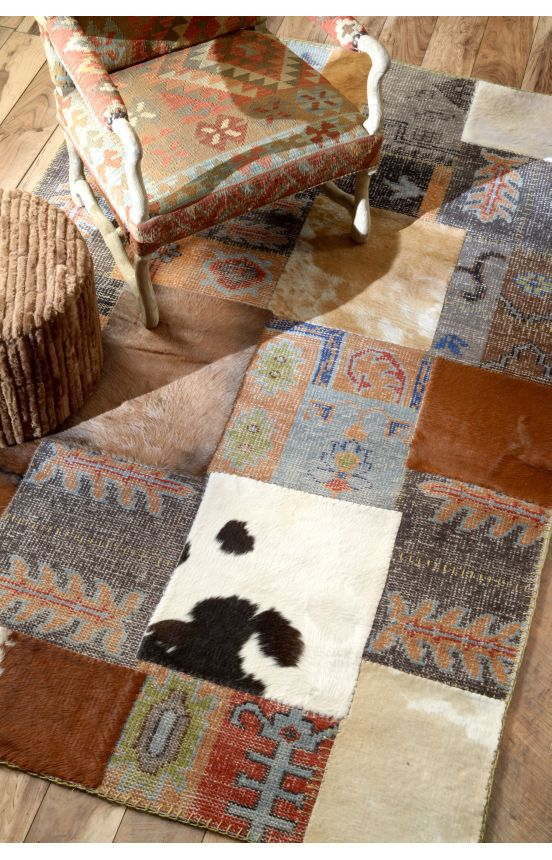 Rugs USA Cenon Cowhide Patchwork MD08 Brown Rug. Rugs USA $99 Sale! Area Rug
