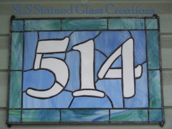 69 Best Stained Glass House Numbers Images On Pinterest Glass
