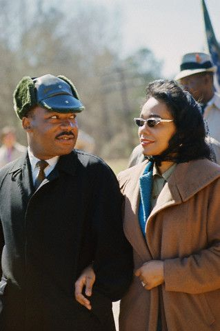 The Rev. Dr. Martin Luther King Jr. was born on Jan 15th, 1929 in Atlanta. But did you know that he was born with the name Michael? In this awesome photo (doesn't he look adorable in his hat?), Dr. King and Mrs. Coretta Scott King march from Selma to Montgomery, Alabama to protest the lack of voting rights for African Americans in 1965. Photo: Steve Schapiro/Corbis.