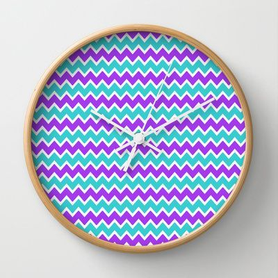Teal and Purple Chevron Wall Clock for baby girl nursery or bedroom decor #decampstudios