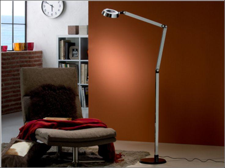 LAMPARA DE PIE LED ·NARIA. Lámpara de pie LED. Realizada en aluminio acabado cromo y negro.
