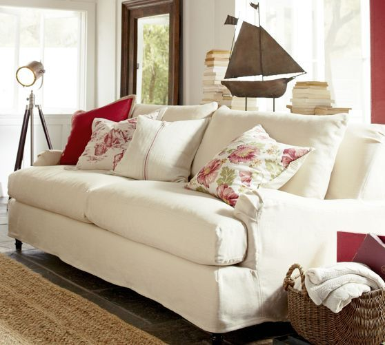 Leather Sleeper Sofa Carlisle Slipcovered Grand Sofa with Bench Cushion Down Blend Wrapped Cushions Linen Blend Garnet