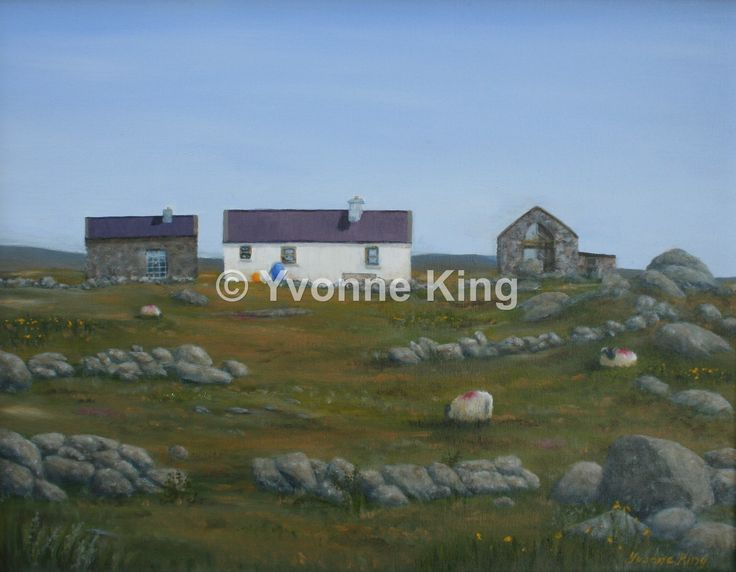 "SEA02-2014-Yvonne-King-Island-Cottage-""The Artists House, Inishlacken""-18""x14"" In the 1950's this cottage was home to a number of artists, Gerard Dillon, George Campbell, James McIntyre, who painted island life as it was then, the people and way of life. So glad they did as the island is no longer inhabited year round. The sheep still graze happily though!"