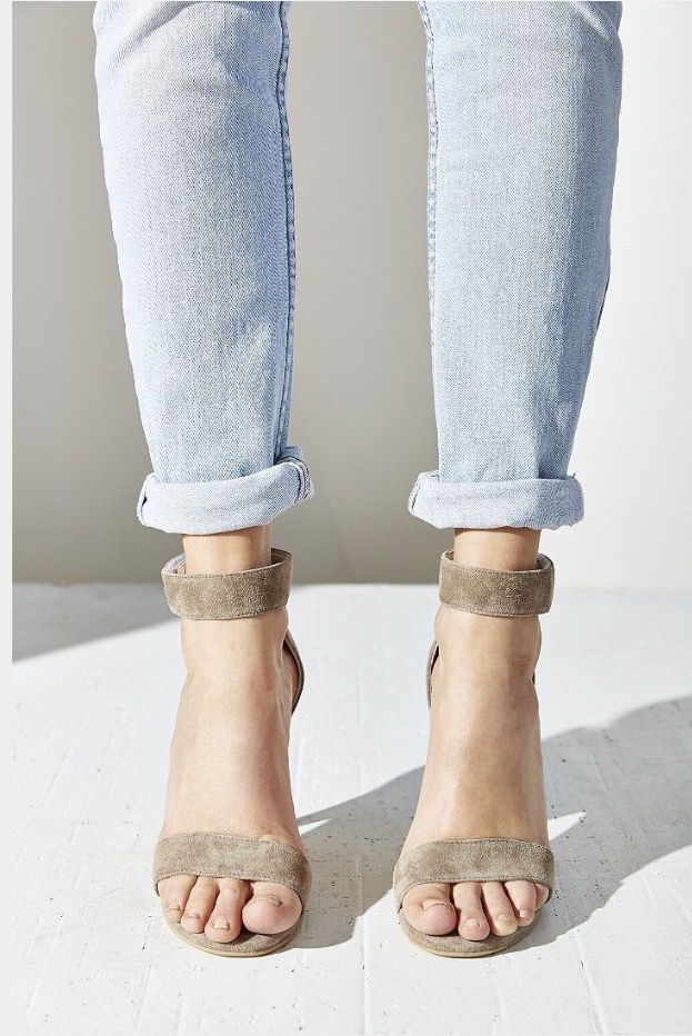 Jeffrey Campbell Lindsay Ankle Strap In Taupe Suede In