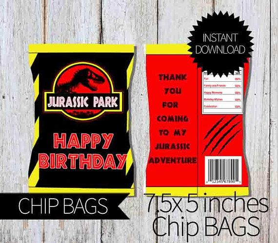 photograph regarding Printable Chip Bags titled Juric Park Birthday Occasion PRINTABLE Chips Bag- Prompt