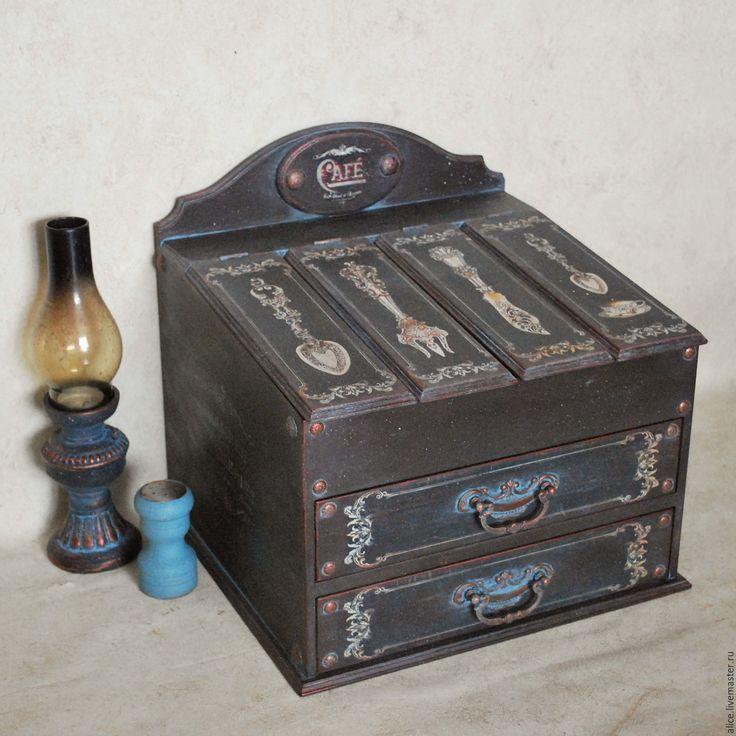 Купить CAFE комод для столовых приборов - черно-коричневый, комод, комод для мелочей, столовые приборы