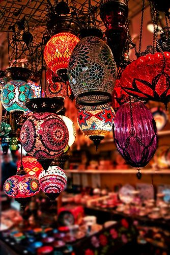Morrocan coloured glass lamps