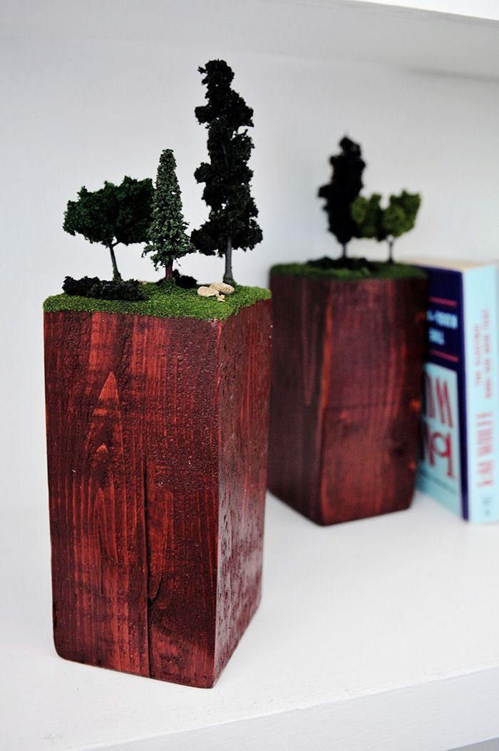Bookends DIY : I don't necessarily love this DIY but it inspires me to do something similar...I'm thinking for kids: Dr Seuss scenery? Like truffula trees?