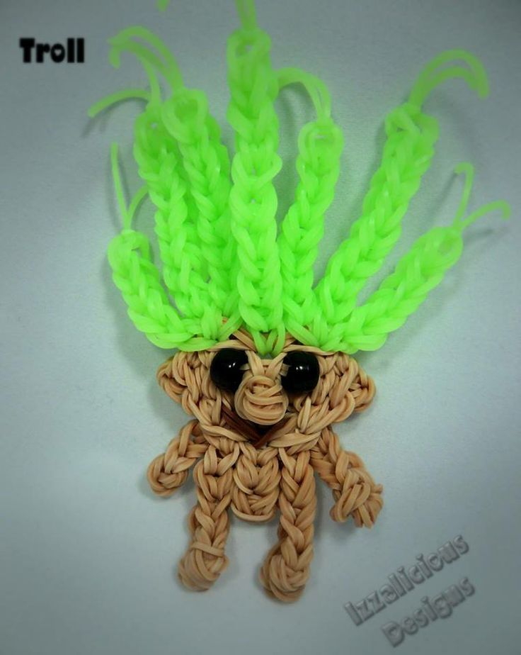 The TROLL. Designed and loomed by Kate Schultz of Izzalicious Designs on the Rainbow Loom. Tutorial coming soon. :o)