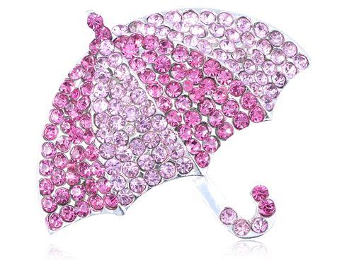 Мода Броши Розовый Кристалл Горный Хрусталь Embedded Зонтик Мода Пользовательские Воротники Броши Контактный Брошь