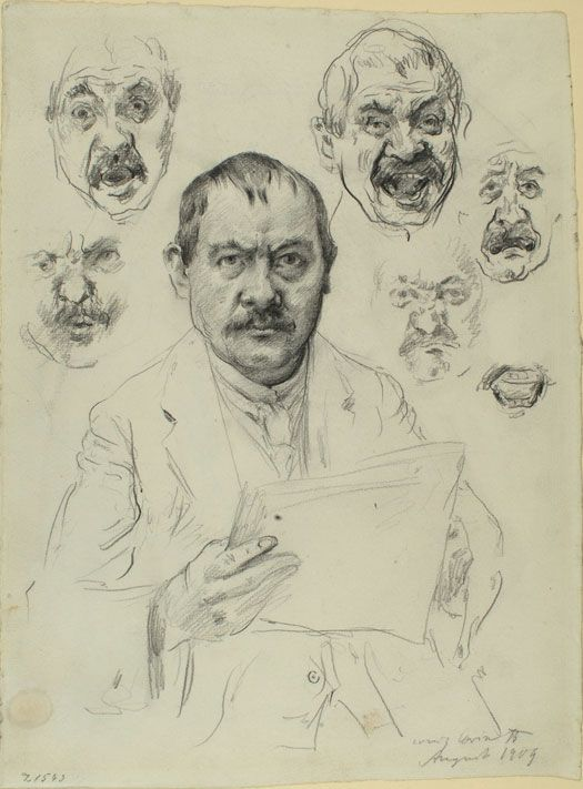 Lovis Corinth (1858-1925), Studies for a Self-Portrait, 1909, Pencil, 344 x 256 mm