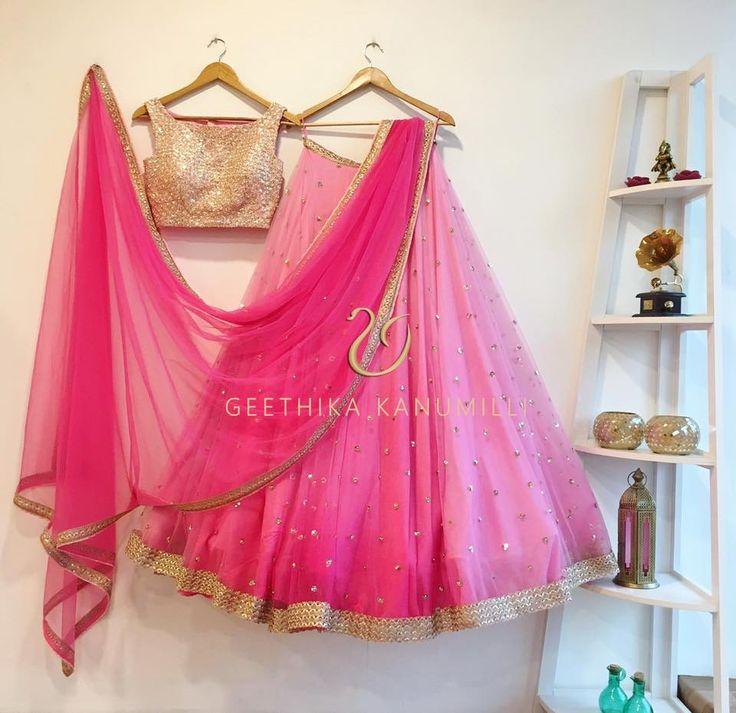 Stunning baby pink color lehenga by Geethika Kanumilli. 13 February 2017