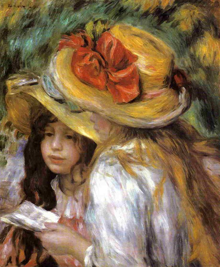 Two Young Girls Reading by Pierre Auguste Renoir - Shop Discount Oil Paintings at OilPaintings.com