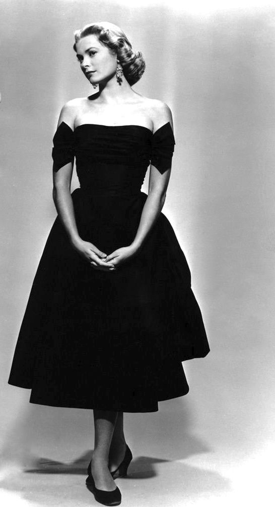 Grace Kelly, 1950s Fashion black cocktail dress full skirt off shoulder movie star style vintage icon
