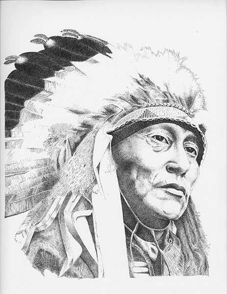 my stippling art of indian chief! This took 3 years to complete. all done using dots using mechanical pens!