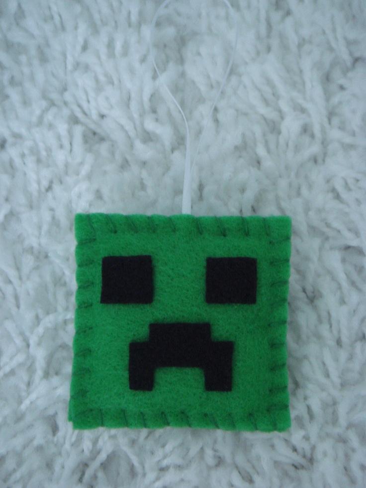 Handmade Minecraft Creeper ornament decoration birthday party favor. $4.50, via Etsy.