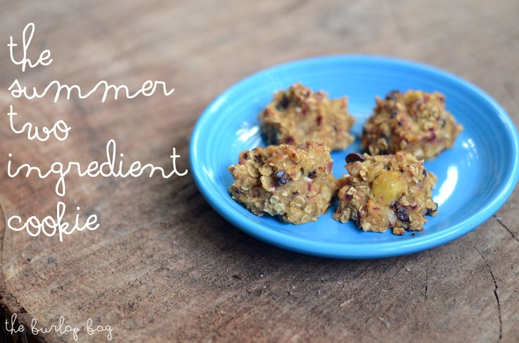 SUMMER 2-INGREDIENT COOKIE: Mix equal parts pureed peaches, oatmeal, mix-ins {brown sugar, cinnamon, coconut, pecans, raisins, sea salt, sunflower seeds, walnuts...}. Bake on GREASED cookie sheet @ 350°F for 12-15 min. Add more peach goop if using a lot of mix-ins. Smother with Nutella or peanut butter right before eating!
