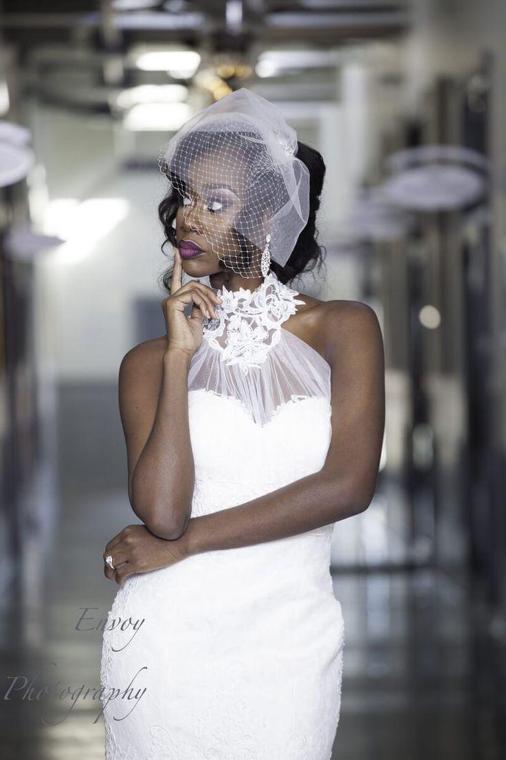 Modern Ghanaian Wedding Inspiration - high neck wedding dress