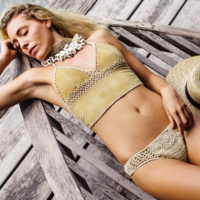 Stunning @maeva_ard reclining in the suede no.1kulit top $69 and the coyote bikini bottom  and Cali dreaming necklace $39  Picture by @amir_agaev