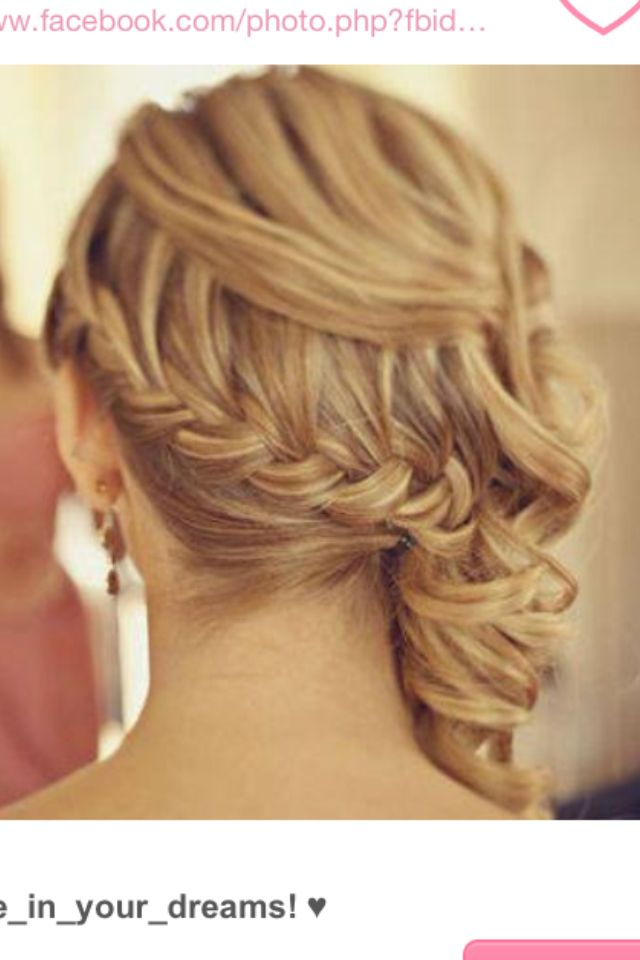 Curly Hair Braid Side Pony Fashion Hair Prom Hair