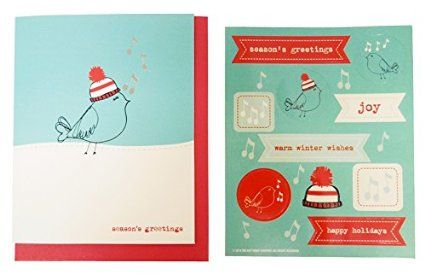 The Gift Wrap Company Small Boxed Holiday Cards with Seals, Winter Whistle