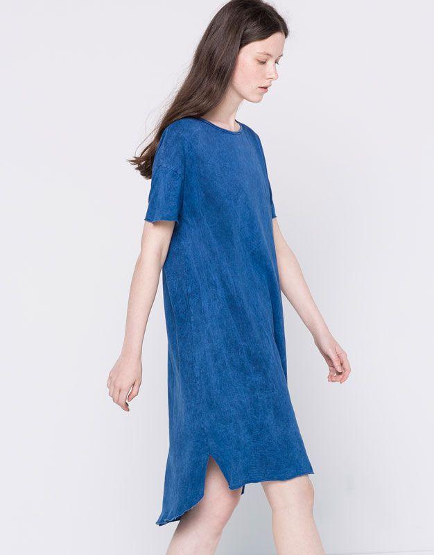 Pull&Bear - mujer - novedades - vestido midi manga corta efecto lavado - indigo - 09394313-I2016