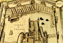 Ancient map of Tower of London, where The Royal Mint was situated for nearly 600 years 1279 - 1805