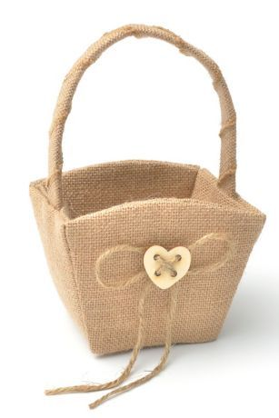 XO Burlap Flower Girl Basket - Davids Bridal