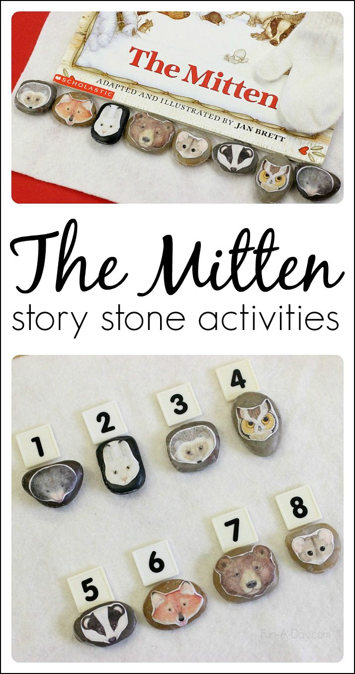 Story stones for Jan Brett's book The Mitten, along with ideas for literacy and math activities related to the book
