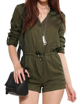 Shop Army Green Drawstring Roll Up Sleeve Romper Playsuit from choies.com .Free shipping Worldwide.$37.99