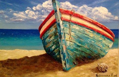 Boat Painting Sea Coast Painting Original by VladimirNezdiymynoga