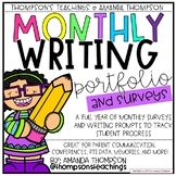 Monthly Writing Portfolio and Surveys- TRACK GROWTH & MEMORIES!