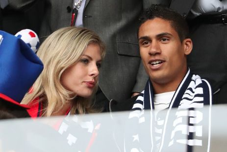 """Raphael Varane and his wife Camille Tytgat attend the UEFA EURO 2016 Group A match between Switzerland and France at Stade Pierre-Mauroy on June 19, 2016 in Lille, France. """