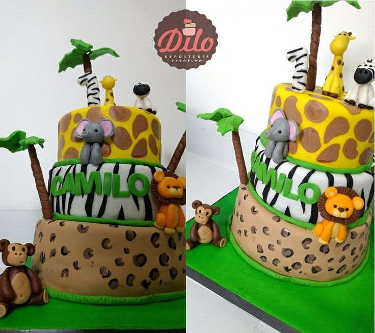 zafari cake torta zafari para los pequeños que cumplen su primer año  Zafari cake en fondant