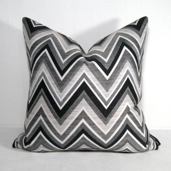 black white outdoor pillow cover grey chevron by mazizmuse basement pinterest grey pillow. Black Bedroom Furniture Sets. Home Design Ideas
