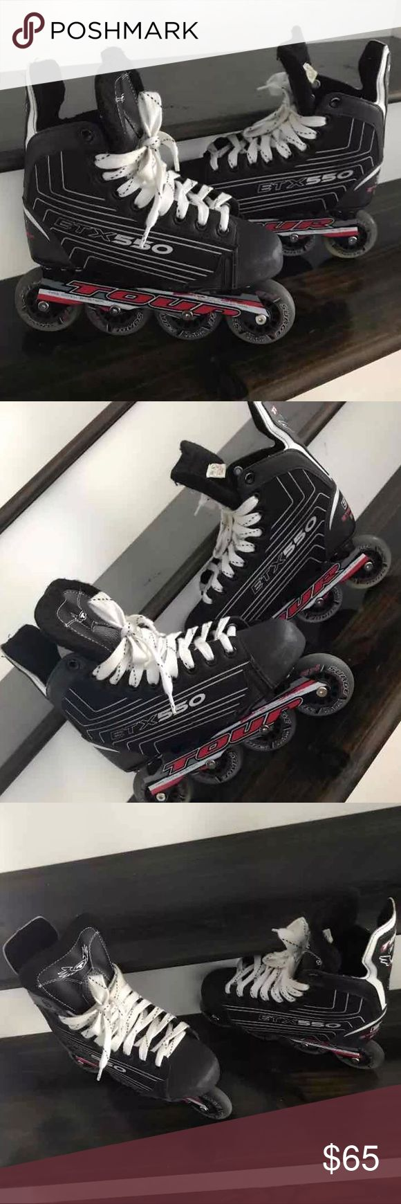 Inline Skates (Negotiable Price‼️) NEGOTIABLE!!! Black, white, and red Inline skates. Size 7 in Men! Great for Tweens, Teens or Kids with a size 7 foot! It's the summer time, so invest! Shoes Athletic Shoes